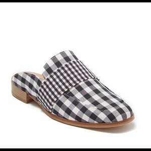FREE PEOPLE Loafer Mule Black & White Gingham SZ 6